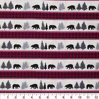 Bear Buffalo Checks & Bears Stripes Sewing Quilting Quilt Fabric Cotton FQ