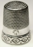"""Large Antique Simons Bros Sterling Silver Thimble  """"Rosettes in Diamonds"""" C1890s"""