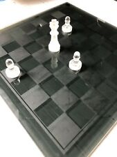 "Crystal Chess Set Smoked Glass Board Large Size 15""x15"""