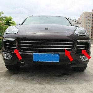 Fit Porsche Cayenne 2015-18 Stainless Steel Front Grille Grill Insert Cover Trim