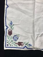 "Vintage Handmade Linen White with Cross stitch Napkin Handkerchief 10x10"""