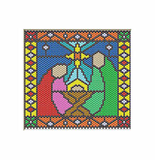 Nativity Joseph, Mary, And Baby Jesus Beaded Banner Pdf Pattern Only