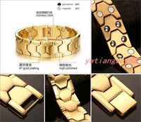 Gold Tone 316 Stainless Steel Magnetic Therapy Health Care Men Energy Bracelet