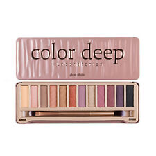 COLOR DEEP Glam Shine Eyeshadow Box 12 Colors Palette / Korea Cosmetics
