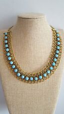 Turquesa perlas babero burbuja Bohemian Boho Chic Collar Cadena De Bronce