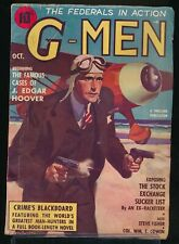 G-MEN October 1937 Pulp Magazine THE FEDERALS IN ACTION Aviator Cover VG+