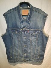 Levis Mens XXL 2xl Sleeveless Biker Trucker punk cut off Denim jean Jacket Vest
