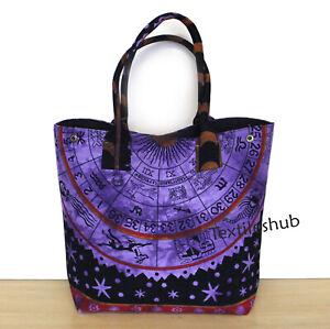 Indian 100% Cotton Purple Zodiac Handbag Women Hippie Tote Carry Shoulder Bags