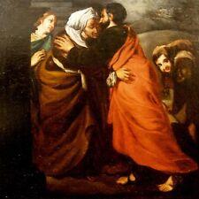 INCONTRO CON GESU' CRISTO Dipinto Originale 1700 Jesus Christ Painting