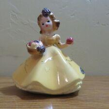 Josef Original Girl Figure w/ Fruit Basket and Apple Yellow Dress November Japan