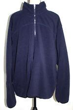 Hanes Mens 2XL (50/52) Dark Blue Fleece Jacket Pull Over 1/4 Zip 2 Pockets