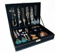 Jewelry Box Black Velvet Organizer 14 Compartments with Lock  Display Case