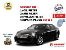 FOR CADILLAC CTS 2.8i V6 2005-> SERVICE OIL AIR  POLLEN FILTER + SPARK PLUGS SET