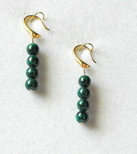 "Earrings - 6mm Green Malachite Beads - 1 5/8""- Gold Plated Hooks"