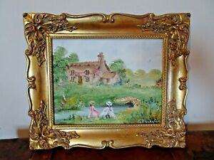 Vintage Oil on Canvas Painting of Cottage & Little Girls Playing by Pat Langton