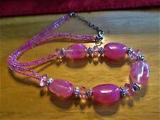 Beads W/Pink Seed Beads Necklace� �Jewelry Garage Sale!�Pretty Swirled Pink