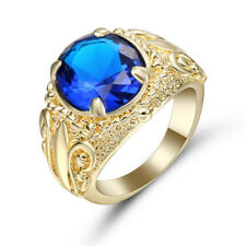Jewelry Size 9 Engagement flower Ring For Men Sapphire 10K yellow Gold Filled