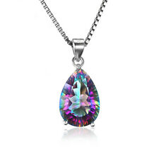 Genuine Rainbow Fire Mystic Topaz Pendant 4.5ct .925 SS Gifts for Her