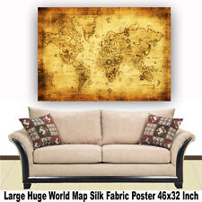 """Poster World Map Large Huge Giant Wall Print Silk Fabric Decor 46""""x32"""" Inch T37"""