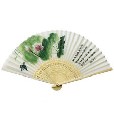 Women Ladies's Wood Handle Fabric Folding Hand Fan 8-inch long, Lotus Painting