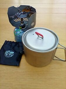 Bivvy Brew Kit: MSR Titan kettle + Optimus Crux Lite stove + Primus windshield
