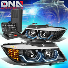 FOR 2009-2012 BMW 3-SERIES E90 4DR 3D LED HALO PROJECTOR HEADLIGHT+TOOLS BLACK