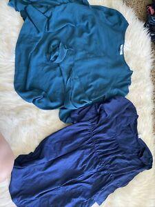 Lot of Maternity 3 Jeans 1 Capri 2 Blouses And 2 Dresses L/XL Motherhood T4