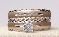 Zirconia Ring Band Engagment Bridal Set 14k Yellow White Gold Round Cz Cubiz