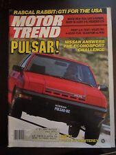 Motor Trend Magazine November 1982 Nissan Pulsar VW Rabbit GTI (SS)