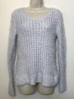 Lauren Conrad Medium Sweater Light Blue Gray Fuzzy Long Sleeve Knit Pullover
