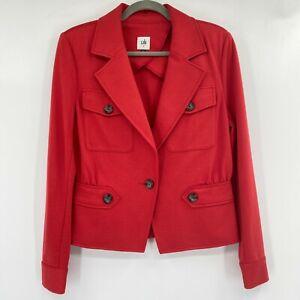 CAbi The Little Red Pocket Buttons Ponte Twill Blazer Jacket Crimson Red Size 6