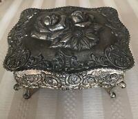 Vintage Trinket Jewelry Dresser Box Rose Floral   Motif Silver Tone Metal Japan