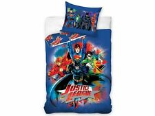 JUSTICE LEAGUE BATMAN SUPERMAN 100% COTON HOUSSE DE COUETTE 140x200 + TAIE 70x90