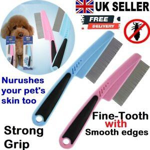 Flea Comb nit Lice Animal Pet Dog Cat Metal Teeth Healthy Fur Non Slip Handle UK
