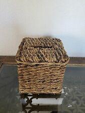 Wicker Tissue Box Cover Light Natural Straw Color