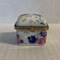 Vintage Floral Trinket Pill Box Porcelain Hinged