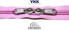 YKK Nylon Coil Zipper Tape # 10 Rose Pink 1 yard with 1 Nickle Zipper Slider