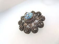 VINTAGE CONTINENTAL STAMPED MA 800 SILVER FLORAL BROOCH/PEN TURQUOISE CENTER CAB