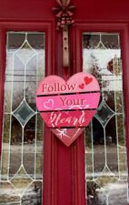 Valentines Day Heart Door Decor Wall Hanging Sign Heart Wreath Swag FLORAL Gift