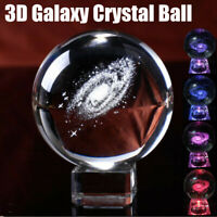 Engraved Solar System Ball 3D Miniature Planets Model Sphere Crystal Ball + Base