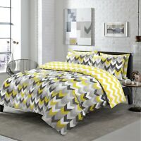 NightComfort Yellow & Grey Geometric Chevron Duvet Cover Set With Pillowcase