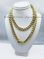 14k Yellow Gold Cuban Chain 26 Inch Men's Necklace Box Lock 10MM (Link Rope)REAL