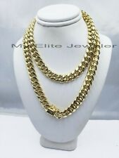 """REAL 14k 10mm Mens Chain 24"""" Miami Cuban Link Necklace Box Lock 14KT Yellow Gold"""