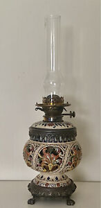 ANTIQUE HUNGARIAN ZSOLNAY PERSIAN STYLE ART POTTERY OIL LAMP HINKS BURNER