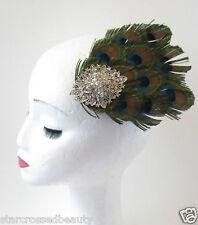 Silver Peacock Feather Fascinator Hair Clip Headpiece Vtg 1920s Flapper 40s Q38