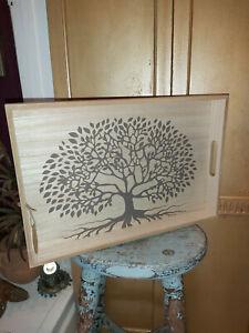A TREE OF LIFE PAULOWNIA WOOD RUSTIC TRAY
