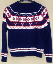 VINTAGE JC PENNEY Acrylic NORDIC SWEATER Navy Pullover Men's L LARGE