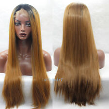 24'' Honey Blonde Ombre Lace Front Wig Synthetic Hair Long Silky Straight Wigs