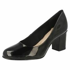 Clarks Womens Aldwych Park Black Patent Soft Cushioned Block Heel Court Shoes