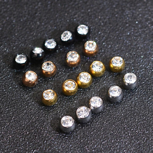 10PCS Stainless Steel Clear CZ GEM Replacement Ball Thread Bead Body piercing